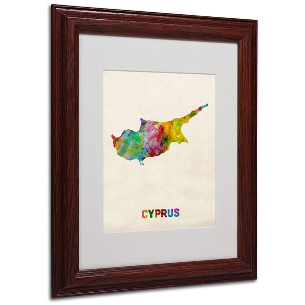 Michael Tompsett 'Cyprus Watercolor Map' White Matte, Wood Framed Wall Art