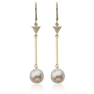 PearlAura Vanguard 14k Yellow Gold Freshwater Pearls and Diamond Accent Dangling Earrings