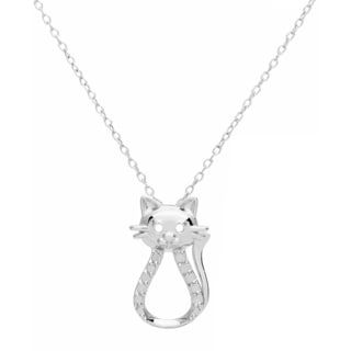 Sterling Silver 1/10ct TDW Diamond Pendant Cat Necklace