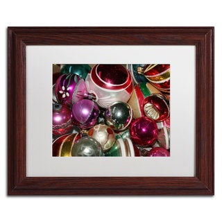 Patty Tuggle 'Vintage Christmas' White Matte, Wood Framed Wall Art