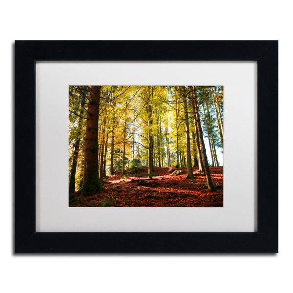 Philippe Sainte-Laudy 'The Autumn Bench' White Matte, Black Framed Wall Art