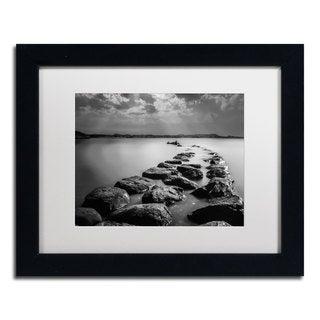Erik Brede 'Silent Water' White Matte, Black Framed Wall Art