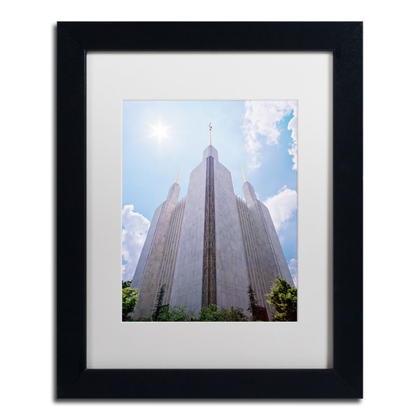Gregory O'Hanlon 'LDS Temple Under the Sun' White Matte, Black Framed Wall Art