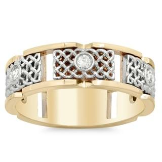 14k Two-tone Gold Men's 1/3ct TDW Diamond Ring (G-H, SI1-SI2)