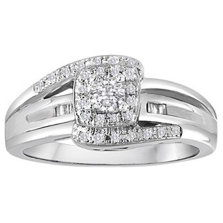 Platinaire 1/4ct TDW Diamond Halo Engagement Ring (I-J, I2-I3)
