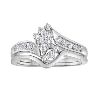 10k White Gold 1/3ct TDW Marquise-shaped Diamond Bridal Ring Set (I-J, I2-I3)