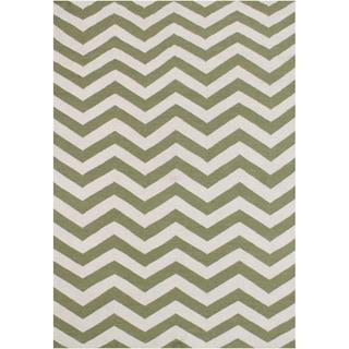 Alliyah Handmade Green Flat Weave Wool Rug (5' x 8')