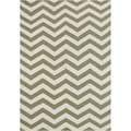 Alliyah Handmade Green Flat Weave Wool Rug (5' x 8')