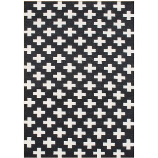 Alliyah Handmade Black Flat Weave Wool Rug (5' x 8')