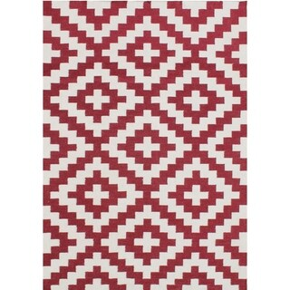 Alliyah Handmade Red Flat Weave Wool Rug (5' x 8')