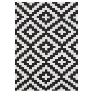 Handmade Alliyah Black Flat Weave Wool Rug (5' x 8')