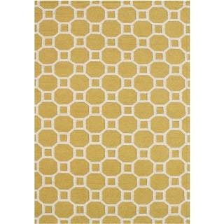 Alliyah Handmade Yellow Flat Weave Wool Rug (5' x 8')