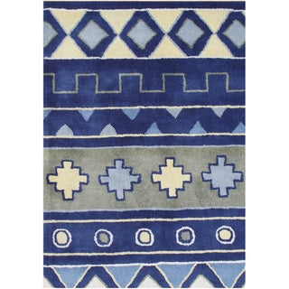 Alliyah Handmade Sky Blue New Zealand Blend Wool Rug (5' x 8')