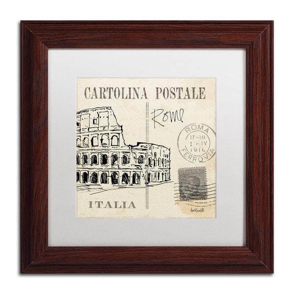 Anne Tavoletti 'Postcard Sketches IV' White Matte, Wood Framed Wall Art