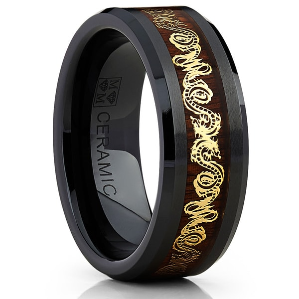Oliveti Black Ceramic Men's Inlaid Gold Dragon and Koa Wood 8mm Wedding Band