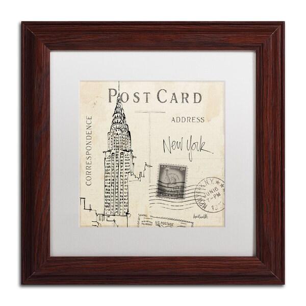 Anne Tavoletti 'Postcard Sketches I' White Matte, Wood Framed Wall Art