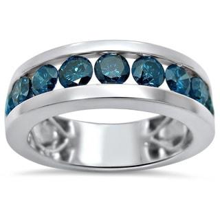 Noori 14k White Gold Men's 1 7/8ct TDW Blue Diamond Ring (SI1-SI2)