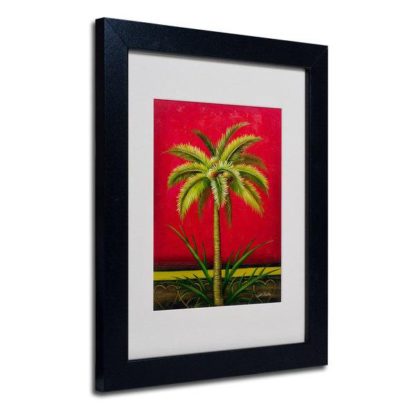 Victor Giton 'Tropical Palm I' White Matte, Black Framed Wall Art