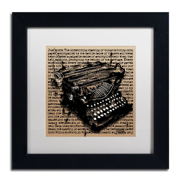 Roderick Stevens 'Three-Quarter Typewriter' White Matte, Black Framed Wall Art