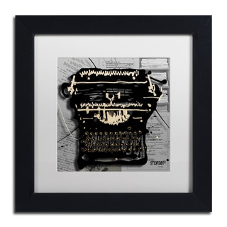 Roderick Stevens 'Movie Typewriter' White Matte, Black Framed Wall Art