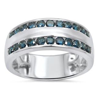 Noori 14k White Gold Men's 1 1/10ct TDW Blue Round Diamond Wedding Ring (SI1-SI2)