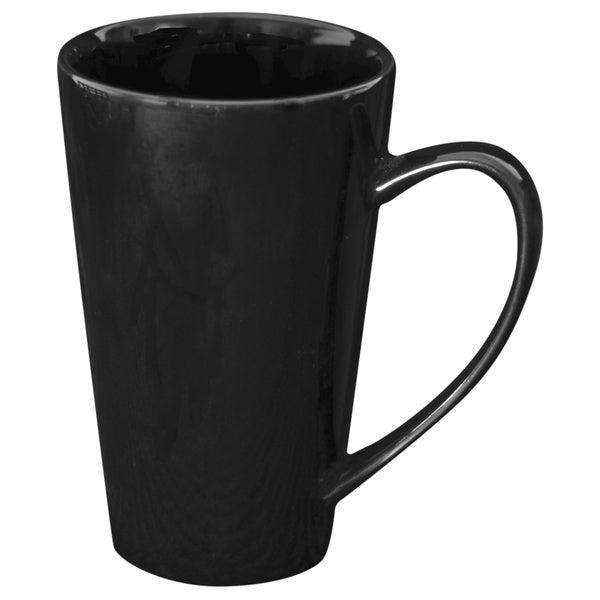 Oversized 24-ounce Black Latte Mug (Set of 4)