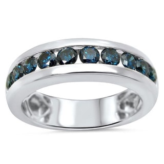 Noori 14k White Gold Men's 1ct TDW Blue Diamond Band (SI1-SI2)