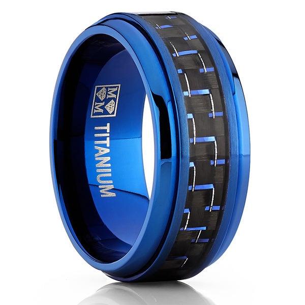 Oliveti BlueTitanium and Carbon Fiber Men's Black and Black Comfort Fit 9mm Band