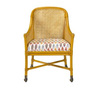 Naples Country Club Rattan and Leather Binding Club Chair with Casters