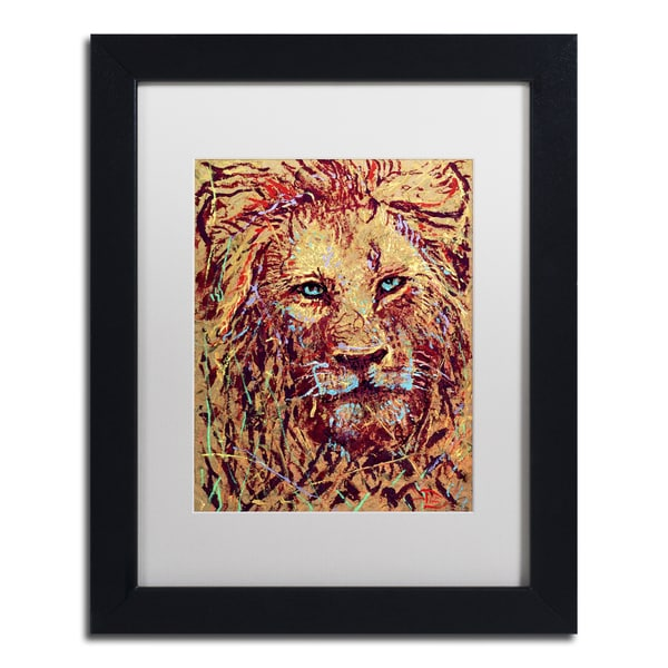 Lowell S.V. Devin 'Leo the Lion' White Matte, Black Framed Wall Art