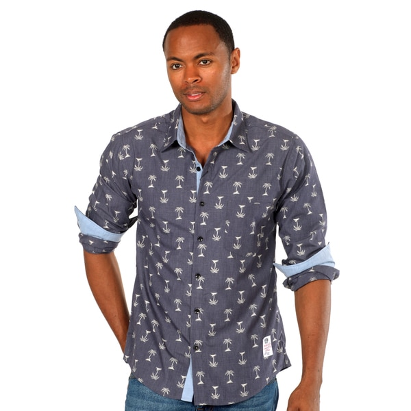 Something Strong Men's Navy Palm Tree Print Shirt