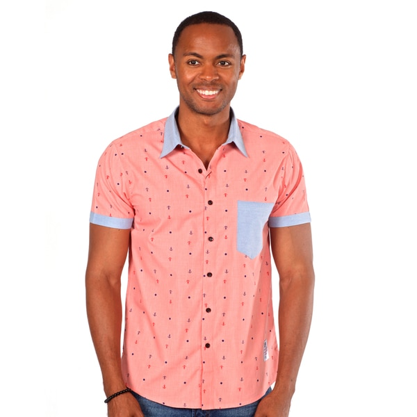 Something Strong Men's Anchor Print Shirt in Pink