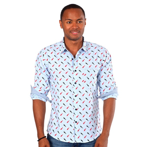 Something Strong Men's Shark Print Shirt in Blue
