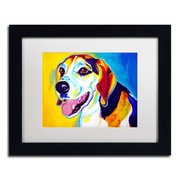 DawgArt 'Lou' White Matte, Black Framed Wall Art