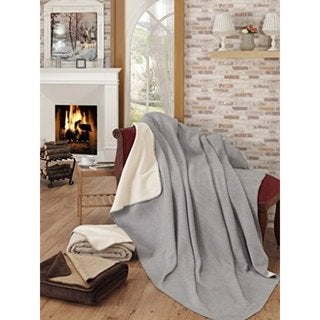 Ottomanson Grey and Ivory Reversible Soft Cotton Cozy Fleece Blanket