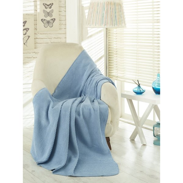 Ottomanson Waffle Light Blue Solid Soft Cotton Cozy Fleece Blanket