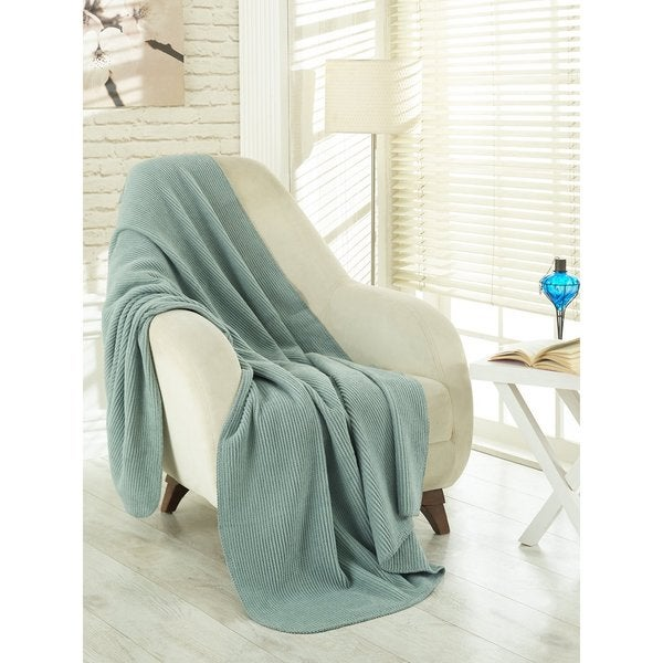 Ottomanson Waffle Sage Green Solid Soft Cotton Cozy Fleece Blanket