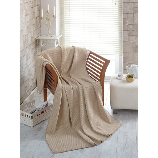 Ottomanson Waffle Beige Solid Soft Cotton Cozy Fleece Blanket