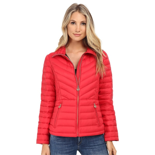 Michael Kors Red Chevron Down Packable Coat