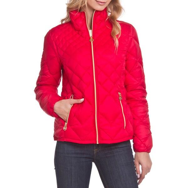 Michael Kors Red Diamond Quitled Packable Coat