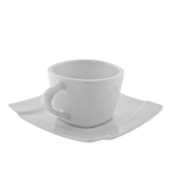 10 Strawberry Street Nouve Square 5oz Cup and Saucer (Set of 6) 16085858