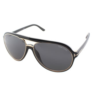 Tom Ford Unisex TF 379 Sergio 01A Shiny Black And Gold Plastic Aviator Sunglasses