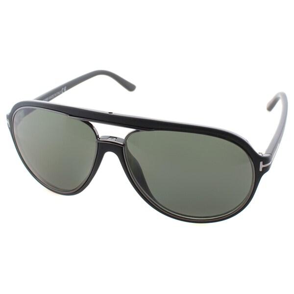 Tom Ford Men's TF 379 Sergio 02R Matte Black And Gunmetal Polarized Aviator Sunglasses