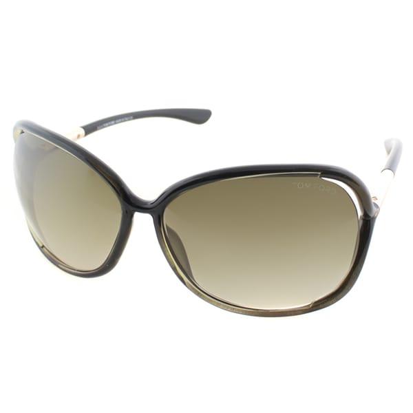 Tom Ford Women's TF 76 Raquel U45 Olive Black Plastic Square Sunglasses