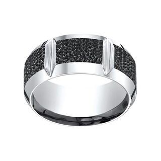 Men's Cobalt 10mm Beveled Edge Ring with Horizontal Grooves