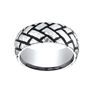 Men's Cobalt 9mm Hammered Tread Ring