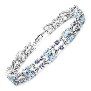 Malaika Sterling Silver 14 2/3ct Blue Topaz and Tanzanite Bracelet