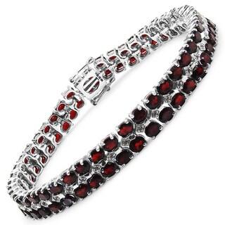 Malaika Sterling Silver 22 3/4ct Genuine Garnet and White Topaz Bracelet