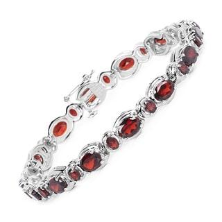 Malaika Sterling Silver 16 1/4ct Genuine Garnet Bracelet