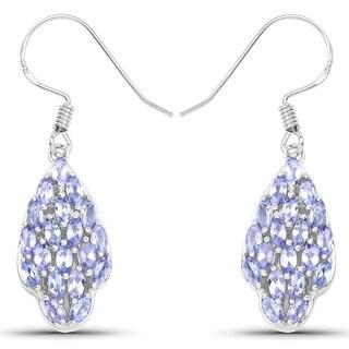 Malaika Sterling Silver 2 5/8ct Genuine Tanzanite Earrings